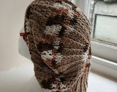 Tam Crochet Beret Style beanie Hat in shades of brown - Handmade in Wales in the UK