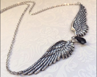ANGEL Wing Necklace, Angel Wing CHOKER NECKLACE, Silver Wing Jewelry, Silver Angel Wing Pendant, Large Silver Pendant Jewelry,