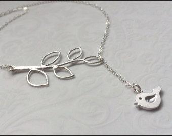 Bird Leaf Necklace, Silver Bird Jewelry, Bird Leaf Lariat,Bird Branch Y Necklace,Silver Leaf Jewelry, Sterling Silver PRETTIEST GIFT for her