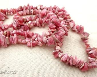 36 inch strand of luscious pink rhodochrosite chip stones
