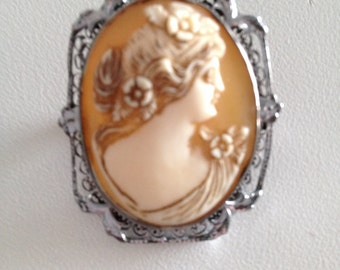 Cameo Vintage 1920s Jewelry Carved Shell Antique Brooch