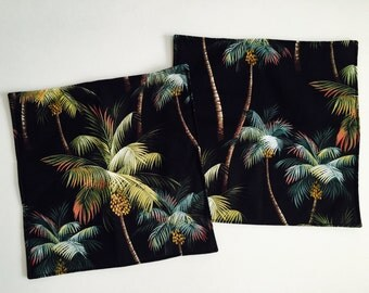 "Tropical Hawaiian Tiki Barkcloth Pillow Covers Cases - Set of Two - Double sided, Lined - Palms, Palm Trees - 18' x 18"" square"