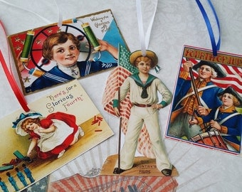 Patriotic 4th of July Gift Tags Ornaments Holiday Ornaments Victorian Handmade Vintage Inspired  - Set of 16 Package 2