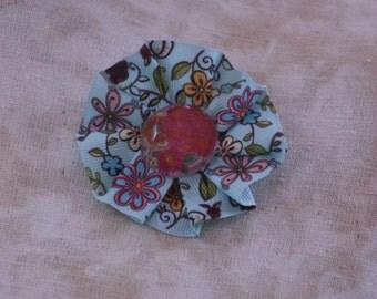 blue floral ribbon rosette pin