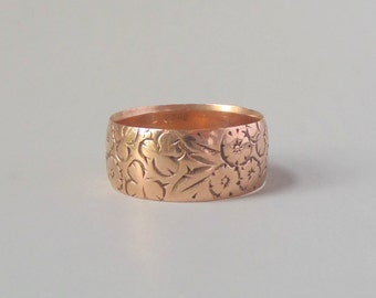 Antique Victorian Rose Gold Floral Ring. Wide Wedding Band. Size 9.75