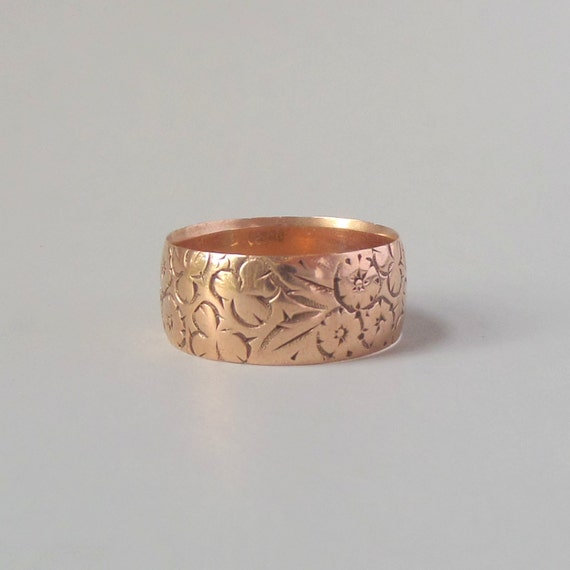 Antique Victorian Rose Gold Floral Ring Wide Wedding Band