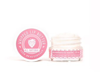 SUMMER SALE - Strawberry & Vanilla - Whipped Lip Butter - Natural Icing for Your Lips
