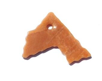 73mm Natural Red Aventurine Stone, Burnt Orange Free Form Pendant, Extra Large, 3 Inch Pendant, Dark Orange, Large Hole