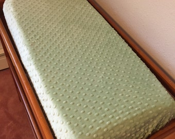 Sage Green Minky Dot Changing Pad Cover - Nursery Changing Pad Cover - Diaper Changing Pad Cover - Baby Shower Gift - Ready to Ship
