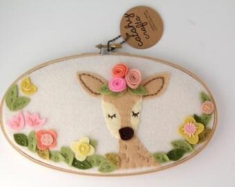 Deer Wall Art - Felt Hoop Art - Meditating / Sleepy Deer Art - Bohemian