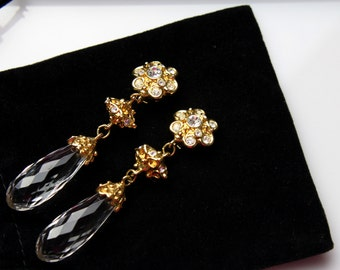Barrera for Avon Clip on Earrings goldtone with clear  rhinestones and large crystal  drop # 630