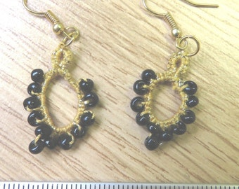Tatted gold and black drop earrings