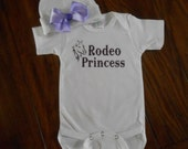 Rodeo Princess Baby Onsie and Beanie Set - Baby Gift Idea