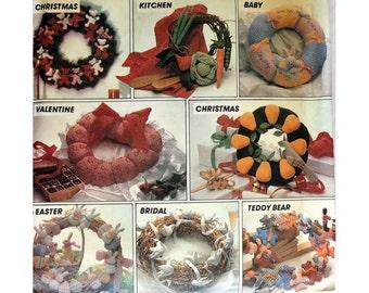 Wreaths Pattern McCall's 8648 Soft Sculpture, Holiday Wreaths, Christmas Decor, Heart Shaped Wreath, Easter Bunny, Food Sculptrue Craft