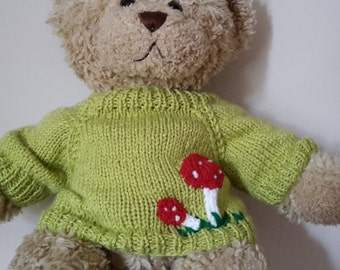 Teddy Bear Sweater - Hand knitted - Green with Toadstool motifs