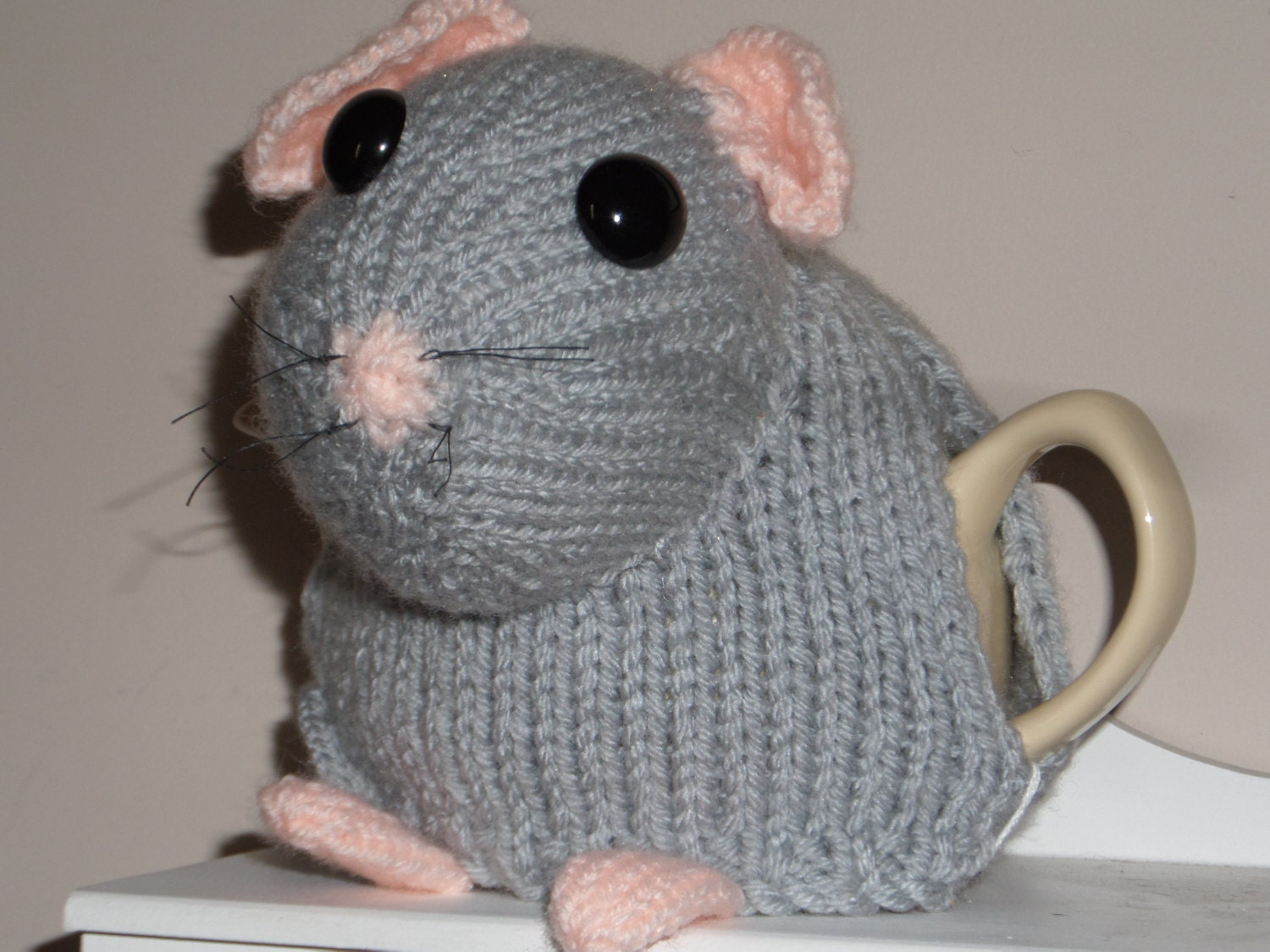 Hand Knitted Tea Cosy Patterns : Hand Knitted Tea Cosy Grey Dormouse to fit small 2 cup tea