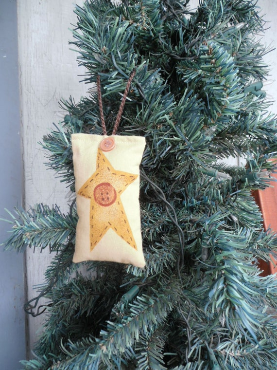 Star Christmas Ornament, Yellow Star Ornament, Homspun Ornament, Stuffed Christmas Ornament