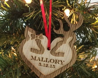 Buck and Doe Christmas Ornament, Deer Christmas Ornament, Rustic Christmas, Country Christmas, Buck & Doe Heart, Personalized Ornament