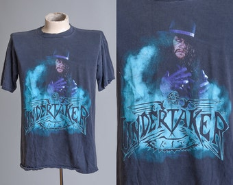 90s WWF The UNDERTAKER Rest In Peace 1995 Pro Wrestling Black Cotton T Shirt XL