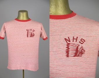 60s Indian Chief Red and White Striped High School Cotton T Shirt