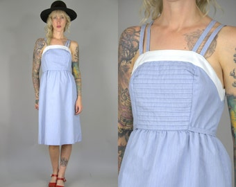 70s Button Down Dress Empire Waist Vicky Vaughn Blue and White Secretary Summer Dress