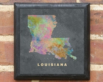 Louisiana LA Splatter Watercolor Effect Wall Art Sign Gift Present Decor Custom Personalized Color New Orleans Baton Rouge Bayou Classic