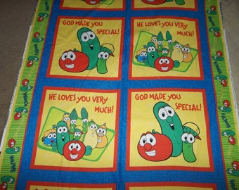 2 Pillow Panels...VEGGIE TALES...Cranston Fabric, Cotton...Free Shipping