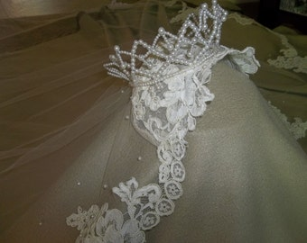 """Vintage Mid Century Cathedral Length WEDDING VEIL...Juliet Cap with Crown...Huge 70"""" by 118"""" long...Excellent Condition"""