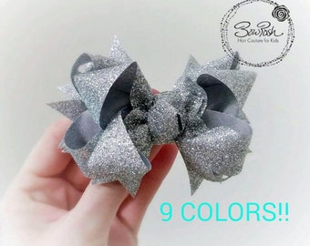 Silver boutique bow, boutique bow, glitter boutique bow, silver hair bow, silver bow, hairbow clip, silver glitter boutique bow