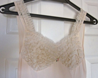 Vintage nightgown long ivory ruffled 50's sexy lingerie  S small