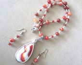 Burnt Orange Banded Agate Bead & Silver Wire Wrapped Pendant and Earrings Set, Handmade Original Fashion Jewelry, Simple Eclectic Statement