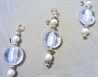 Pink Foil Glass Bead, Pearl & Gold Add a Charm, Purse Charm, Stylus Charm, Phone Charm, Zipper Pull, Guitar Charm Bag Charm Ladies Gift Idea