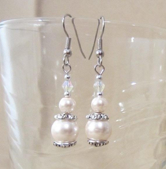 Graduated Colored Pearl & Iridescent Crystal Earrings, Simple Pearl Wedding Jewelry, Colored Pearl Earrings, Handmade Beaded Jewelry, Gift