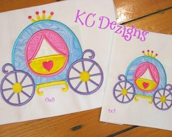Fancy Princess Carriage Machine Applique Embroidery Design - Princess Carriage Applique Design - Carriage Applique Design - Princess Design