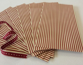 Small Gift Bags - Vintage Red & Cream Stripe - Party Wedding Favour Christmas Bag x 12