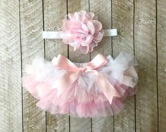 Baby Girl Ruffle Bottom Tutu Bloomer & Headband Set in Pink Ombre - Newborn Photo Set - Cake Smash - Diaper Cover - Baby Gift - 1st Birthday