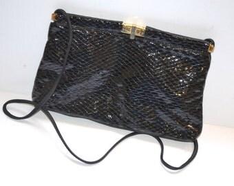 80s vintage designer black leather small  purse by Valerie's Handbags evening shoulder bag