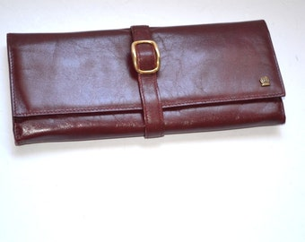 Vintage 80s leather fold purse  wallet burgundy Make-up Bag Cosmetic Bag Jewelry Bag Evening Clutch  Boho purse Mothers Day gift