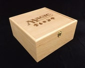 Magic the Gathering Logo with Mana Symbols Engraved Deck Box with Hinges & Latches-10 3/4 x 10 5/8 x 5