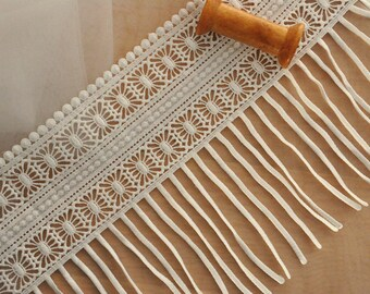 Fringe Tassel Lace in Ivory for Bridal, Tribal Fusion or Bellydance Costumes, Jewelry, Sewing