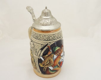 Vintage German Beer Stein, Original King Beer Mug, Barrel Beer Mug/Stein, German Lidded Beer Stein