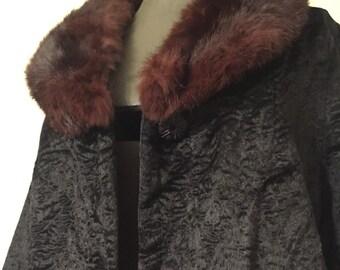 Vintage Real Fur Coat / Velour Coat with Real Mink / Fur Collar / Coat / Jacket / Fur Coat / Antique Coat / Vintage Cape / 1960s Coat