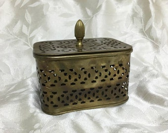 Vintage 70's Brass Potpourri Box ~ Decorative Cut Work Design