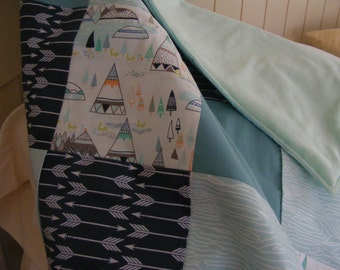 Teepees Arrows Baby Blanket . Crib Blanket. Quilt Woodland. Tribal Teepee Arrow. Mint Teal Navy Baby Blanket