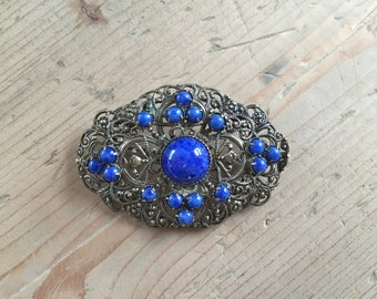 Art Deco Czech Filagree Glass Brooch