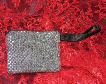 Silver/ Black Zip Clutch Purse with Handle