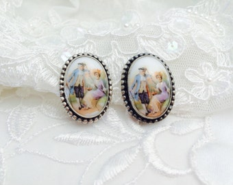 Victorian Couple Sterling silver Earrings, Stamped, Painted Porcelain,  Estate Sale, Item No. S106