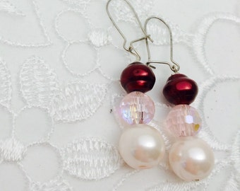 Swarovski Pearl Earrings and Crystals, Silver,  HALF OFF S A L E, Item No. S269