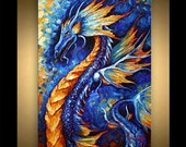 """Dragon Painting Abstract Art 36"""" x 24"""" Animal original painting on canvas palette knife heavy textured technique"""