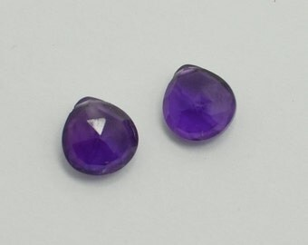 Dark Purple Amethyst Heart Briolettes, Matched Pairs, Purple Amethyst Briolette Faceted Flat Drops, 10x10 mm, 2 Beads, #185